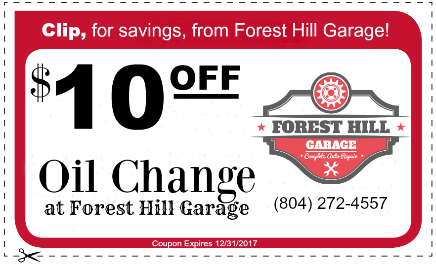 Forest Hill Garage $10 off Oil Change Coupon